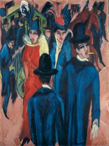 Dipinto di una scena d'una strada di Berlino. -Hernest Ludwig Kirchner